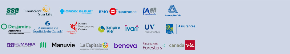 Voici les partenaires de SoumissionAssuranceMaladieGrave.ca: SSQ, Sun Life, Croix Bleue, BMO, Industrielle Alliance, Desjardins, Assurance Vie Équitable du Canada, RBC, Humania, Manuvie, La Capitale, IA Excellence, Plan de Protection du Canada, Ivari, Empire Vie, UV Mutuelle, Foresters, Assomption Vie